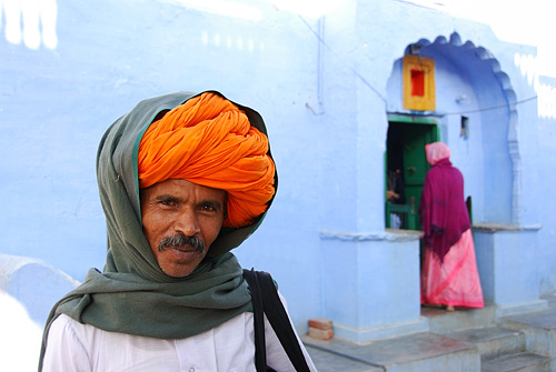 Kishangarth man with large orange turban