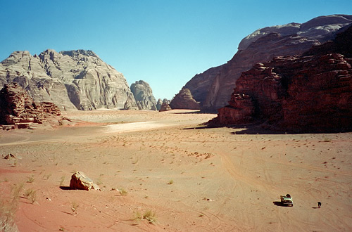 Wadi Rum, jeep in the desert