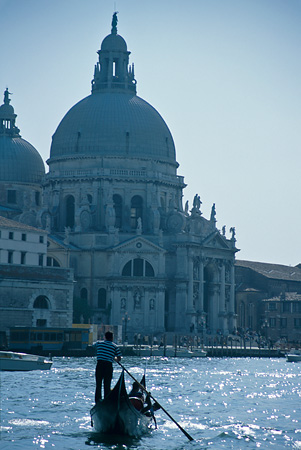 Gondola in front of Campo Della Salute at dusk